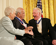 Author photo. Paul M. Johnson (right), after receiving the Presidential Medal of Freedom.  White House photo by Shealah Craighead, 15 Dec. 2006.
