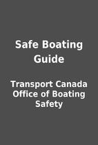 Safe Boating Guide by Transport Canada…