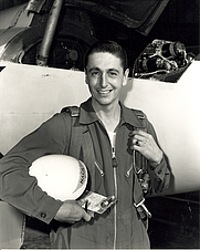 Author photo. A. Scott Crossfield with the Douglas D-558-2 Skyrocket after his record-breaking Mach 2 flight, Nov. 20, 1953. In 1993, NASA awarded him the Distinguished Public Service Medal for his contributions to aeronautics and aviation for 50 years. (NASA Photo)
