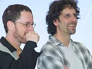 Author photo. Ethan Coen on the left.  Photo by Rita Molnar, Cannes Film Festival 2001