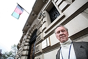 Author photo. Author Peter Hopkirk outside the Afghan embassy in London Richard Cannon/Times Newspapers Ltd
