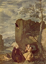 Author photo. St. Anthony the Great and St. Paul the Hermit by Diego Velázquez, 1635-8.