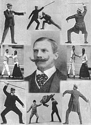 Author photo. A montage of techniques from the martial art Bartitsu. E.W. Barton-Wright is pictured in the middle.