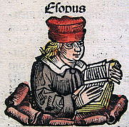 Author photo. Depiction of Aesop from the Nuremberg Chronicle. Published in 1493.