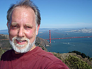 Author photo. self-portrait on Hawk Hill over Golden Gate, 2005.