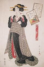 Author photo. Kikugawa Eizan, woodblock print circa 1820