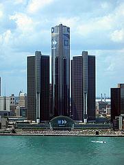 Author photo. Renaissance Center, GM World Headquarters, Detroit, Michigan.