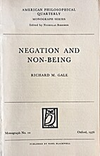 Negation and non-being by Richard M. Gale