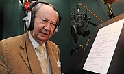 Author photo. Peter Sallis recording his part in the Wallace & Gromit TV film A Matter of Loaf and Death in 2008.