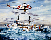 Author photo. <b>Teamwork</b> by Ralph Starr: Coast Guard units come to the aid of a fishing boat in trouble off Alameda, California.