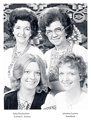 Author photo. Ann Kmit with Luba Perchyshen, Loretta Luciow and Johanna Luciow