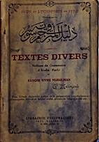 Textes Divers: Notions de Grammaire d'Arabe…