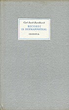Ricordi di Hofmannsthal by Carl J.…