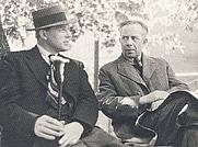 Author photo. Ivar Lo-Johansson (right) with Harry Martinson Photo: Gunnar Lundh (1940)
