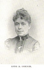 Author photo. Anna A. Gordon (b.1853) Buffalo Electrotype and Engraving Co., Buffalo, N.Y.