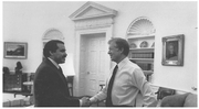 Author photo. Mendez with President Jimmy Carter (<a href=&quot;https://www.cia.gov&quot;>cia.gov</a>)
