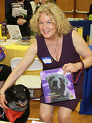 Author photo. Nancy Furstinger gave a reading and signing at the Hudson Children's Book Festival (May 7, 2011) in Hudson, NY, with her dog Jolly, the model for her artwork in Maggie's Second Chance.