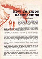 How to Enjoy Backpacking by Gerry Cunningham