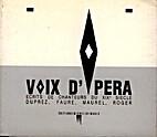 Voix d'opéra : écrits de chanteurs du XIXe…