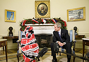 Author photo. President George W. Bush meets with Darfur Human Rights Activist Dr. Halima Bashir in the Oval Office. White House photo by Chris Greenberg