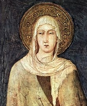 Author photo. Saint Clare of Assisi / Detail depicting Saint Clare from a fresco (1312–20) by Simone Martini in the Lower basilica of San Francesco, Assisi.