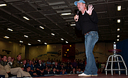 Author photo. Comedian Bill Engvall, a member of the Blue Collar Comedy Tour, performs a stand-up routine aboard the USS RONALD REAGAN on Oct 16, 2006: U.S. Navy photo by Mass Communication Specialist Seaman Benjamin Brossard.