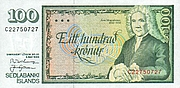 Author photo. Front of an Icelandic bank note with Árni Magnússon