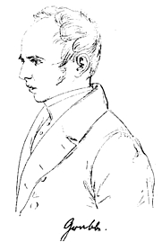 Author photo. Drawing by Theodor Hildebrandt (1832)