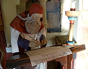 Author photo. Robert Henryson as portrayed in the Abbot House, Dunfermline [source: Kim Traynor via Wikipedia]