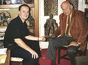 "Author photo. Author Mike Hankin (left) with Ray Harryhausen in Ray's home in London in 2006 with ""Talos"" from Jason and the Argonauts."
