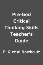 Pre-Ged Critical Thinking Skills Teacher's…