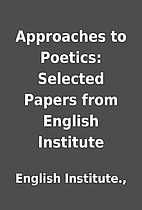 Approaches to Poetics: Selected Papers from…