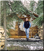 Author photo. Peter Jenkins in Tok, Alaska. Photo courtesy of <A HREF=&quot;http://www.alaskawintercabin.com/tent_in_tok.html&quot;>Donna Blasor-Bernhardt</A>, author of Waltz With Me, Alaska & Pioneer Road