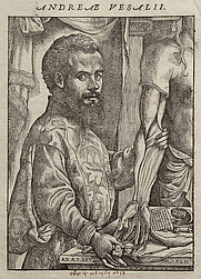 "Author photo. Portrait of Vesalius from his ""De humani corporis fabrica"" (1543)"