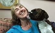 Author photo. Michele Hanson with Lily.