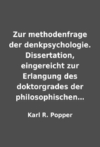 Zur methodenfrage der denkpsychologie.…