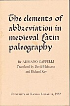 Elements of Abbreviation in Medieval Latin…