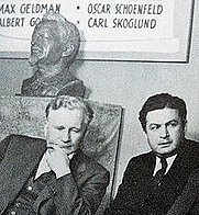 Author photo. Morrow (right) and James Cannon, with Trotsky bust.