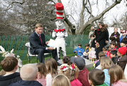 "Author photo. Hall of Fame football player Troy Aikman reads ""One Fish, 2 Fish, Red Fish, Blue Fish"" for children at the reading nook at the 2008 White House Easter Egg Roll, Monday, March 24, 2008. White House photo by Chris Greenberg 