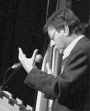 Author photo. Mahmoud Darwish at University of Bethlehem (2006)