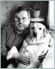 Author photo. Official author photograph - Tom Sniegoski and his dog, Mulder