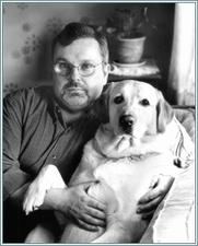 Author photo. Official author photograph - Tom Sniegoski and his dog, Mulder