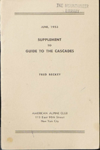 Supplement to Guide to the Cascades by Fred…