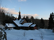 Author photo. New Skete Monastery in the Snow.  Photo by user Temp / Wikipedia.