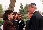 Author photo. Leah Rabin, President & Mrs. Clinton (1998) ~ U.S. Embassy/Israel