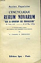 L'Encyclique 'Rerum Novarum...' Sur la…