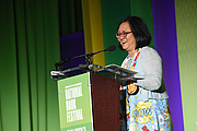 "Author photo. Linda Sue Park gives a presentaiton on the Children's Green Stage at the National Book Festival, August 31, 2019. Photo by David Rice/Library of Congress. By Library of Congress Life - 20190831DR0213.jpg, CC0, <a href=""https://commons.wikimedia.org/w/index.php?curid=82899176"" rel=""nofollow"" target=""_top"">https://commons.wikimedia.org/w/index.php?curid=82899176</a>"
