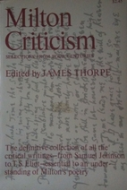 Milton criticism; selections from four…