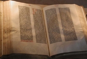 """Author photo. Gutenberg Bible owned by the US Library of Congress. Photo by Mark Pellegrini,  August 12, 2002. """"I hereby release it under the GFDL"""". Permission is granted to copy, distribute and/or modify this document under the terms of the GNU Free Documentation Lice"""