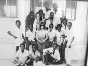 Author photo. Dr. Bennett in 1980 with her O-level maths students